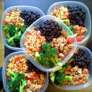 meal prep - brown rice, turkey, black beans and broccoli