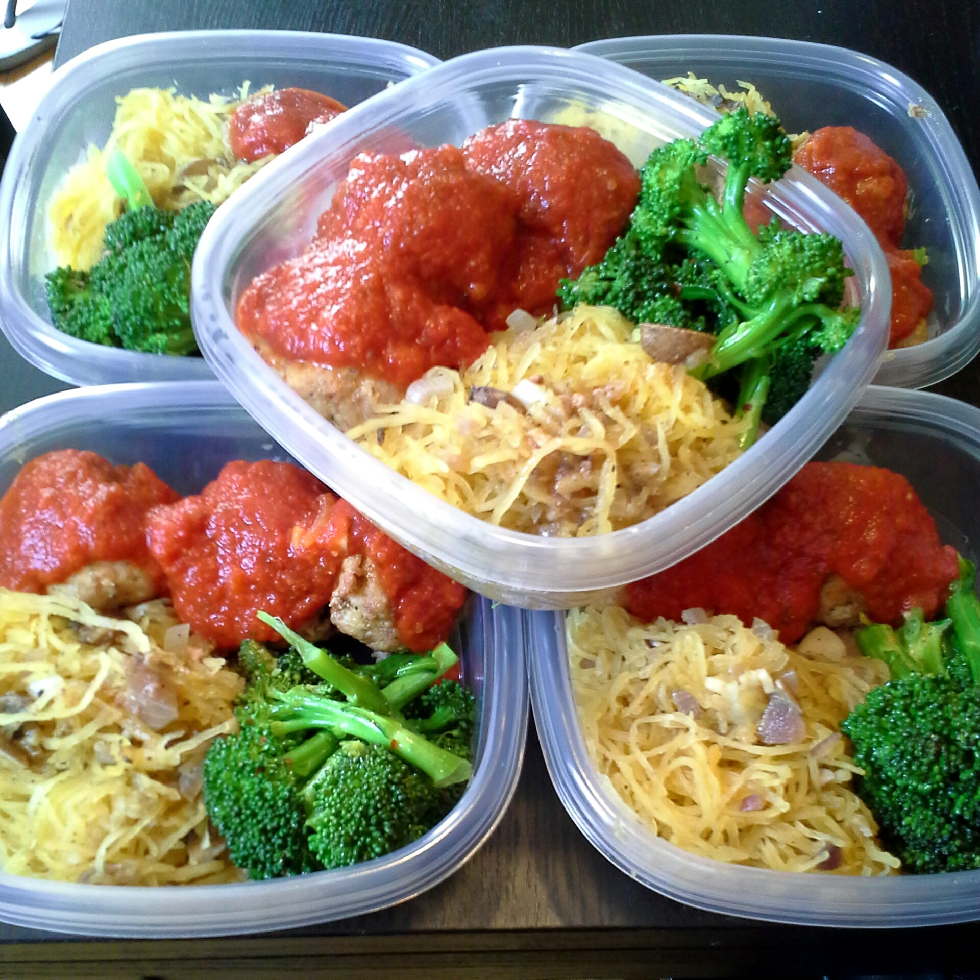 meal prep spaghetti squash turkey meatballs and broccoli