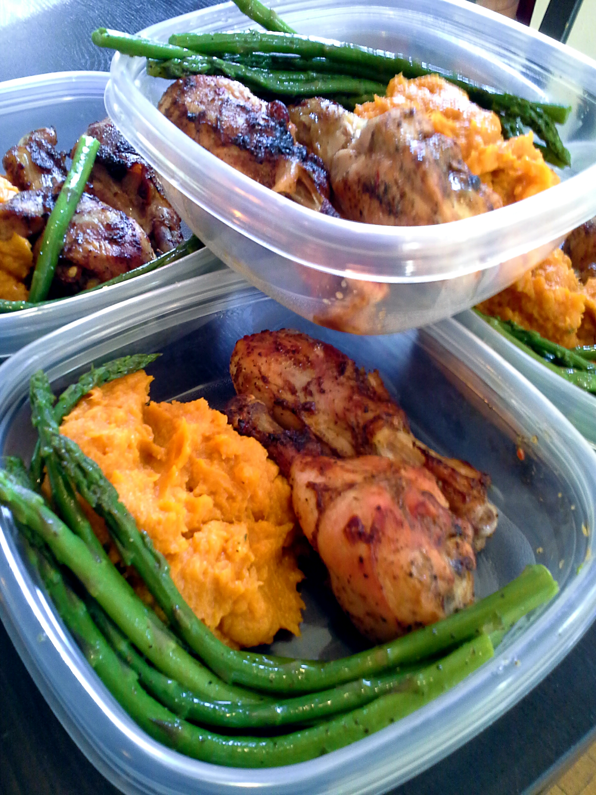 Meal Prep  Yams, Asparagus And Baked Chicken