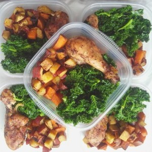 sweet potato, kale, baked chicken